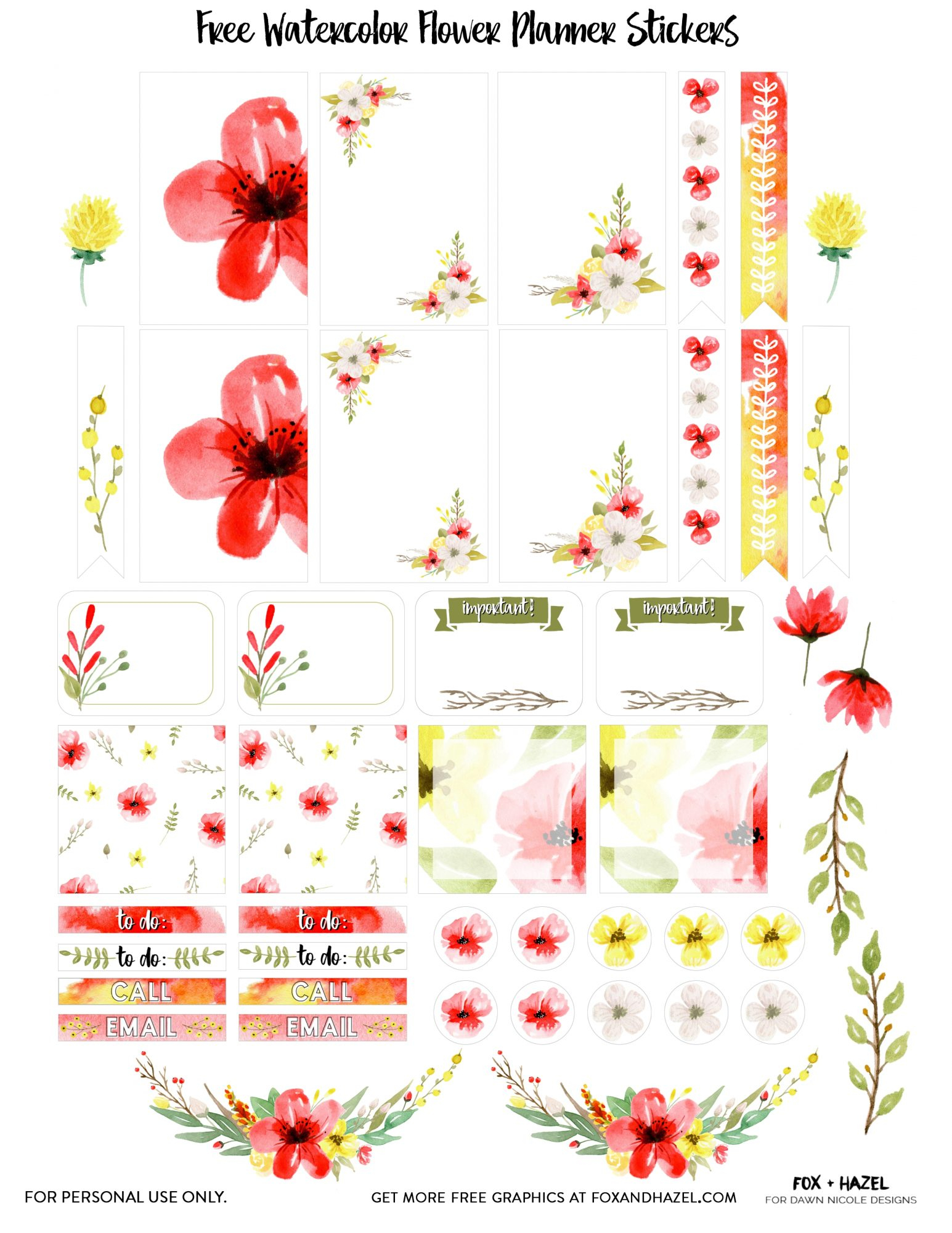Free Floral Planner Stickers Printable | Dawn Nicole Designs® - Free Printable Planner Stickers Pdf