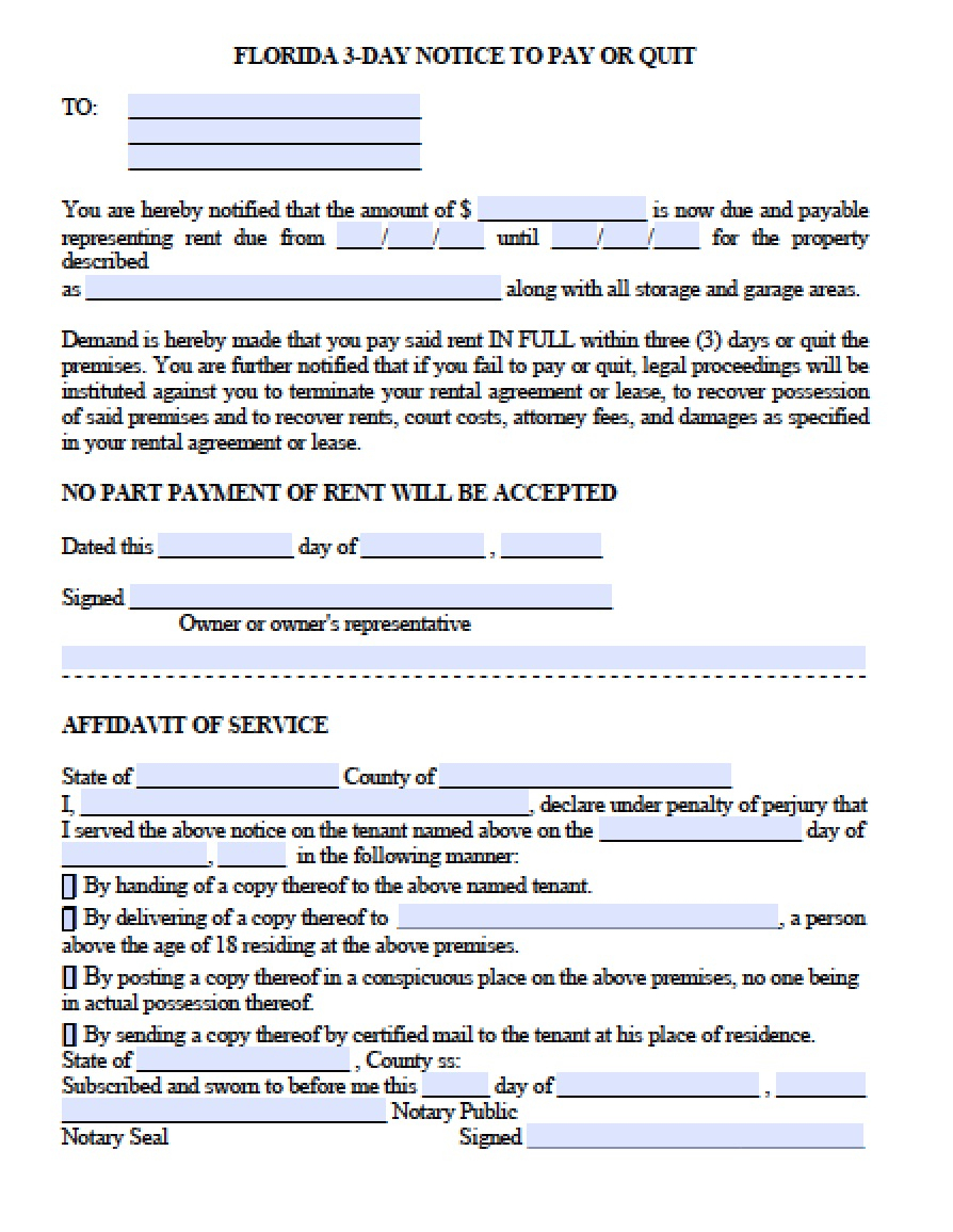 Free Florida Eviction Notice Template | 3 Day Notice To Pay Or Quit - Free Printable Eviction Notice Pa