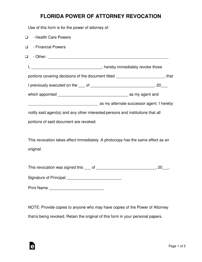 Free Florida Revocation Of Power Of Attorney Form - Pdf | Word - Free Printable Revocation Of Power Of Attorney Form