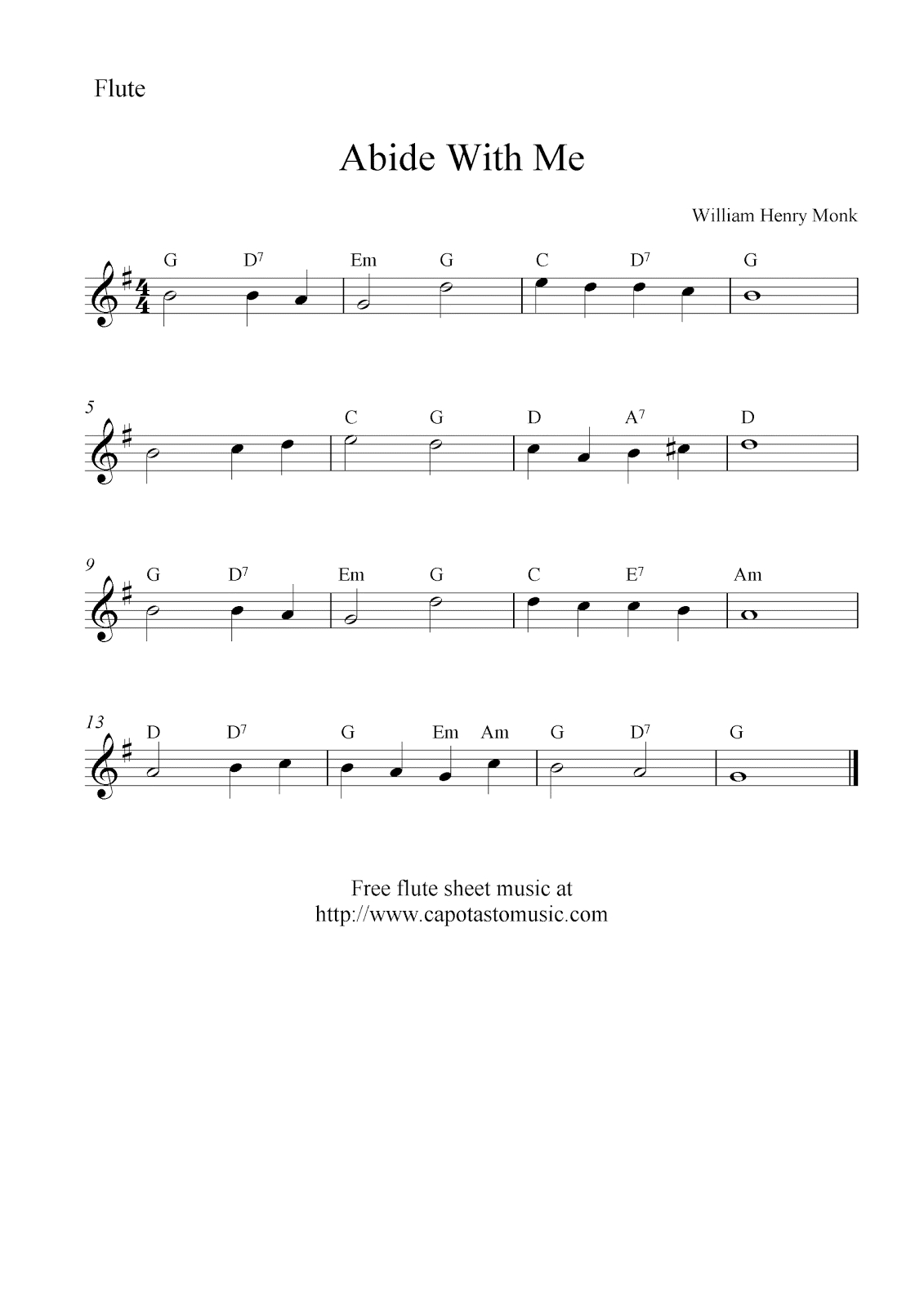Free Flute Sheet Music, Abide With Me - Free Printable Flute Music