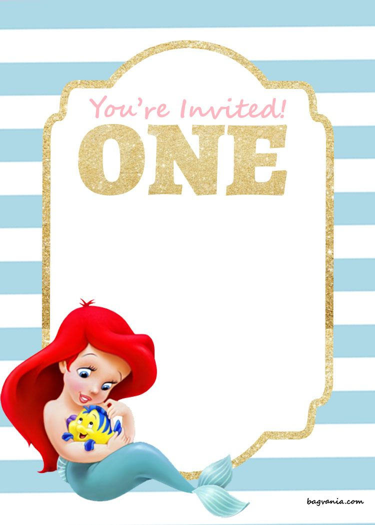 Free Free Printable Disney Princess 1St Birthday Invitations - Mermaid Birthday Invitations Free Printable