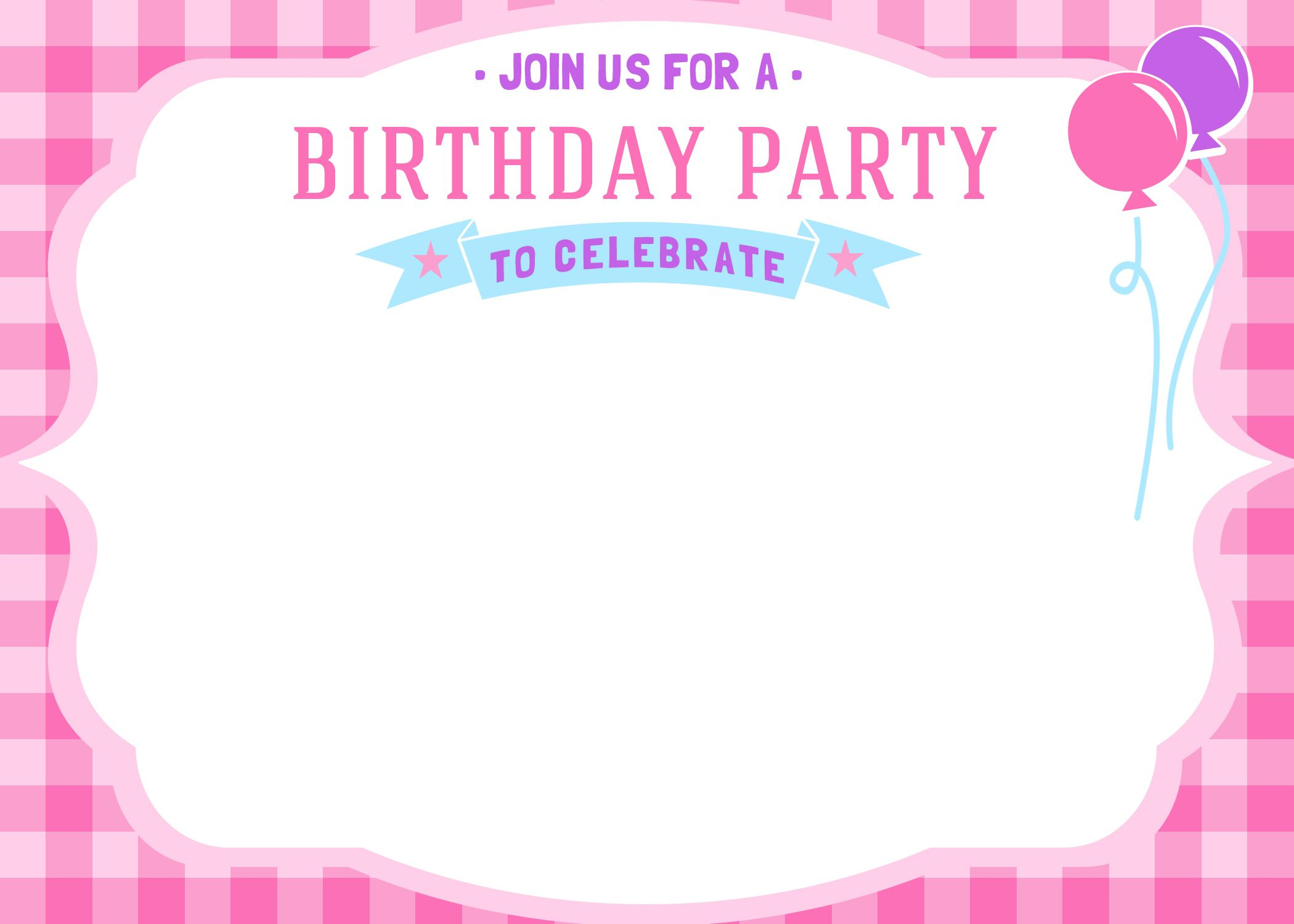Free Free Printable Girls Birthday Invitations   Bagvania Invitation - Free Printable Girl Birthday Invitations