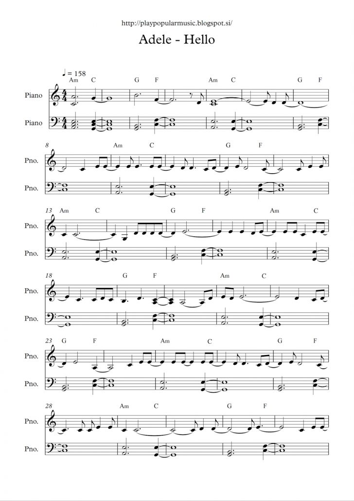 Free Printable Piano Sheet Music For Popular Songs