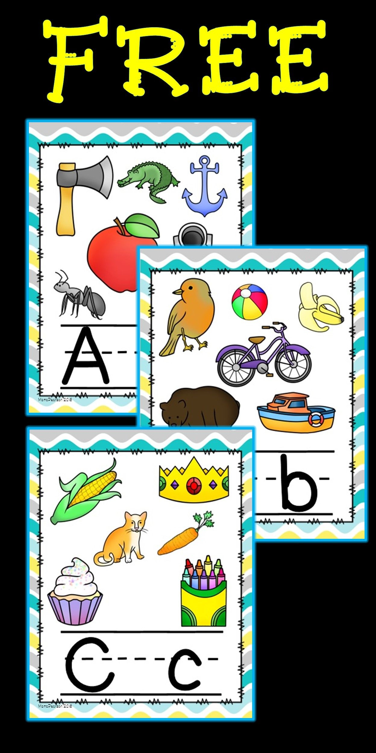 Free!! Full Set Of Alphabet Posters With Upper And Lower Case - Literacy Posters Free Printable