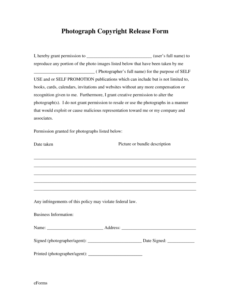 Free Generic Photo Copyright Release Form - Pdf | Eforms – Free - Free Printable Photo Release Form