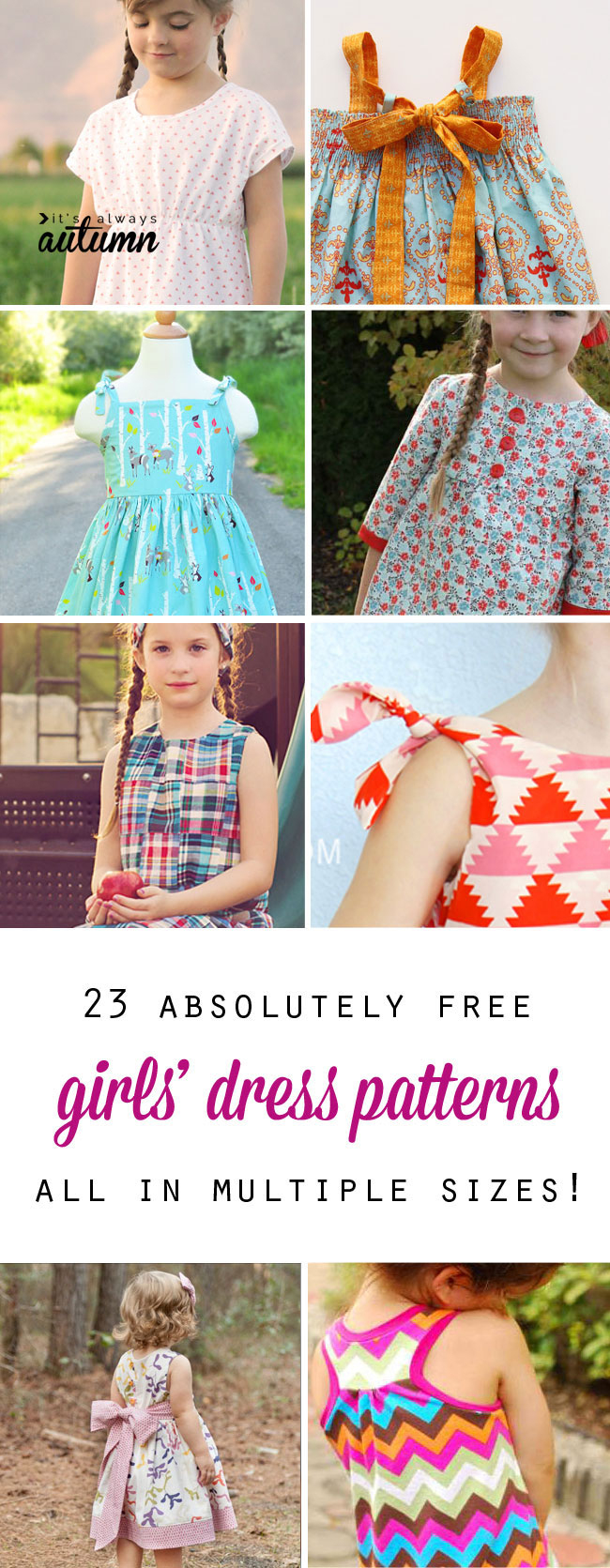 Free Girls' Dress Patterns & Charity Sewing - It's Always Autumn - Free Printable Sewing Patterns For Kids