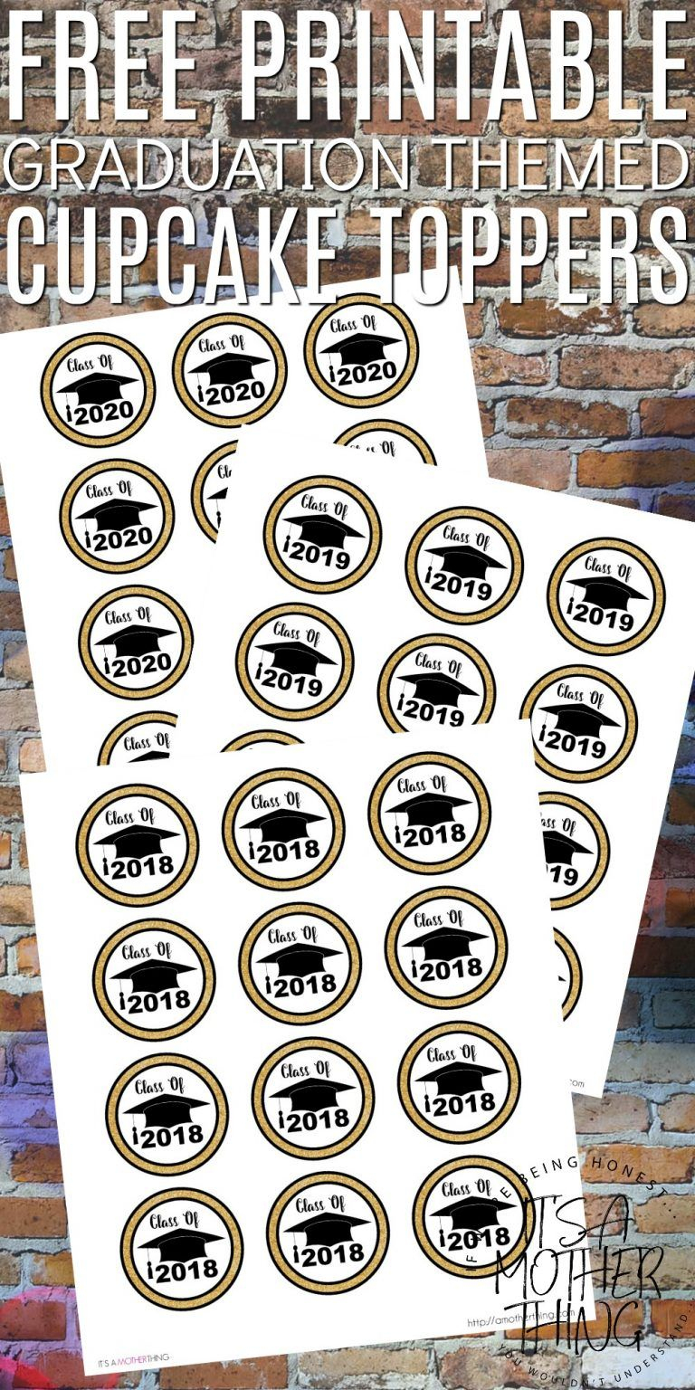 Free Graduation Themed Printable Cupcake Toppers | Birthdays/parties - Free Printable Graduation Cupcake Toppers