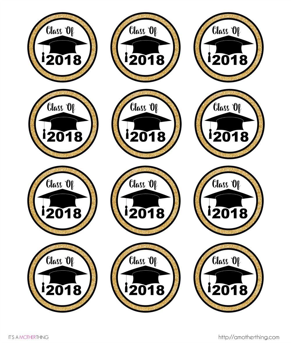 Free Graduation Themed Printable Cupcake Toppers | Graduation - Free Printable Graduation Cupcake Toppers