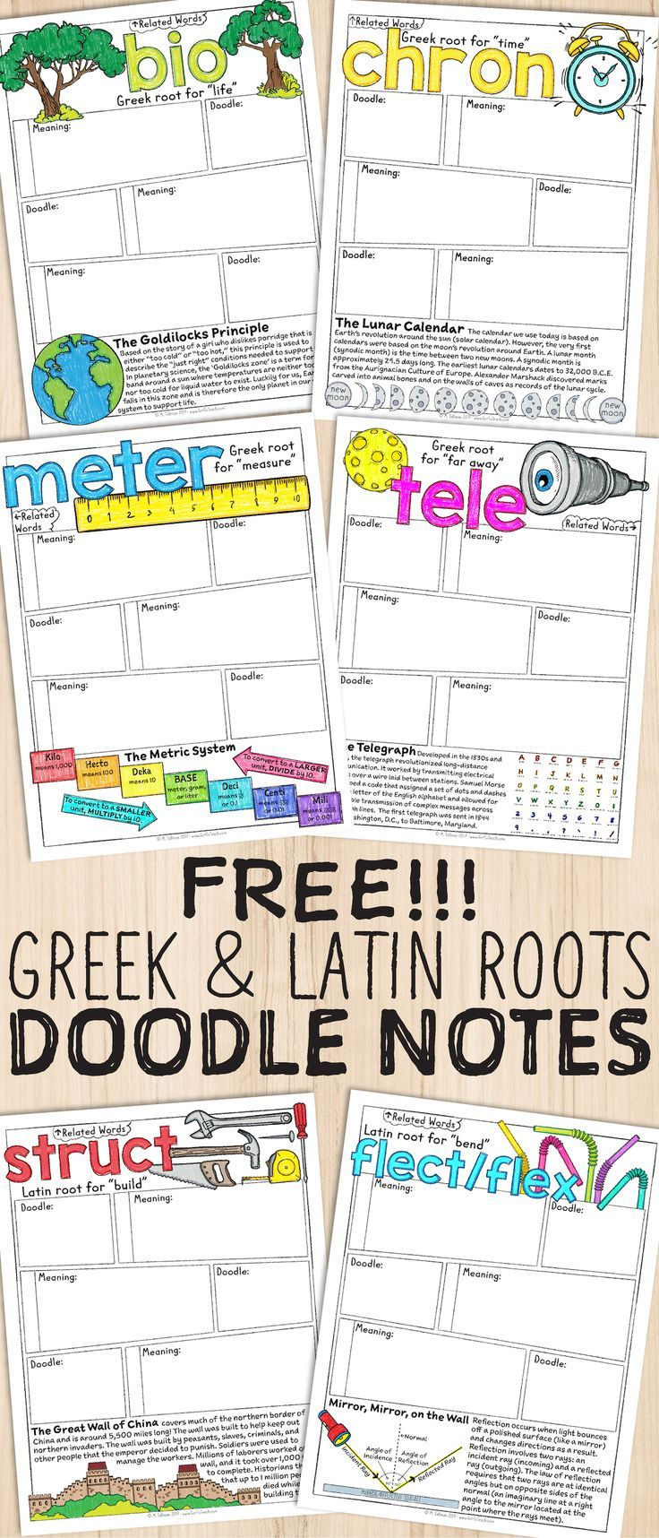 Free Greek And Latin Roots Sketch Notes | Literacy Teaching - Free Printable Greek And Latin Roots