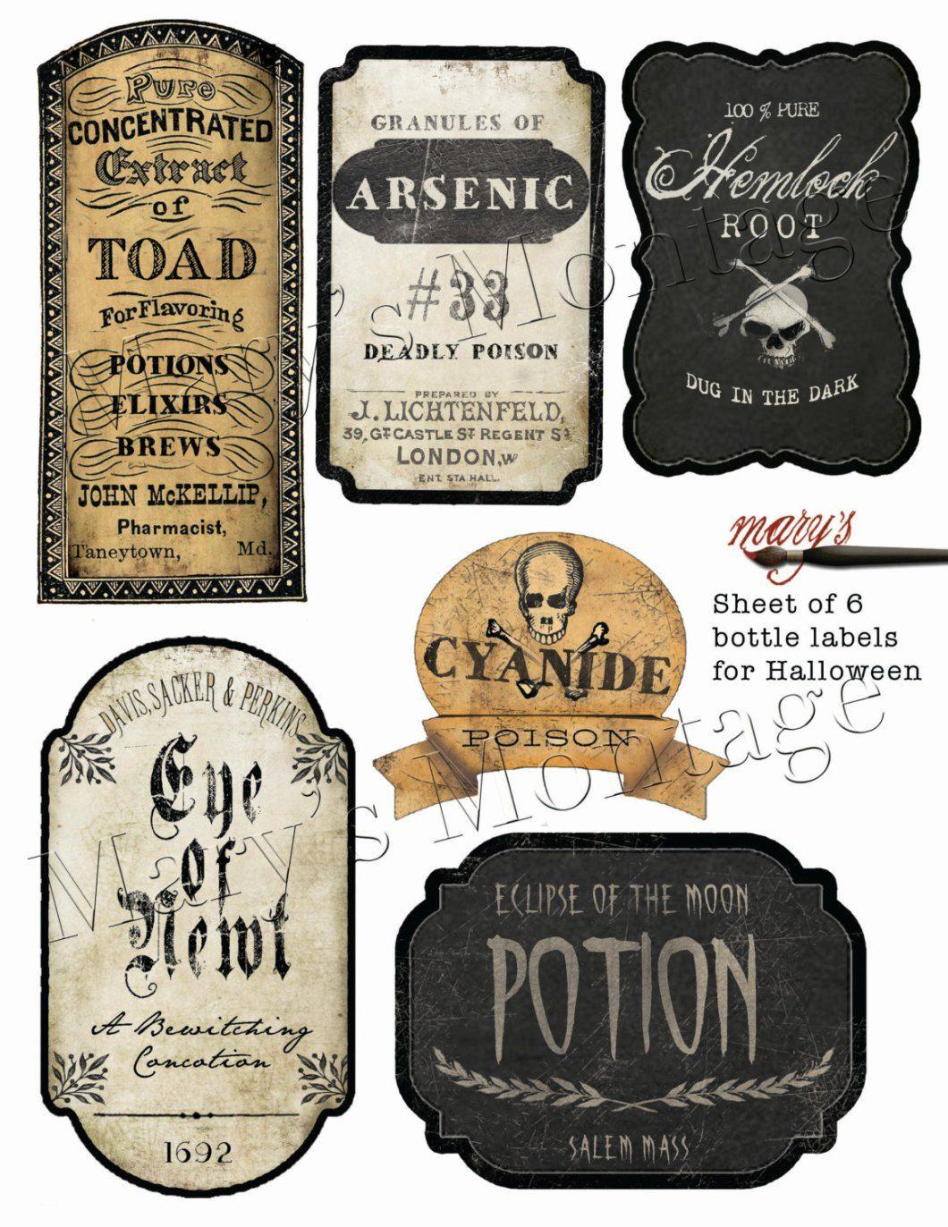 Free Halloween Bottle Labels Hallowen Org | Halloween | Pinterest - Free Printable Halloween Bottle Labels