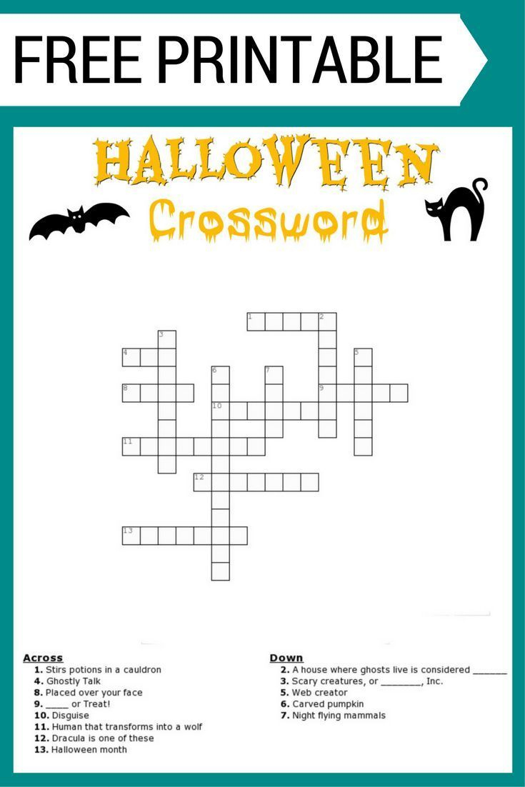Free Halloween Crossword Puzzle #printable Worksheet Available Both - Halloween Crossword Printable Free