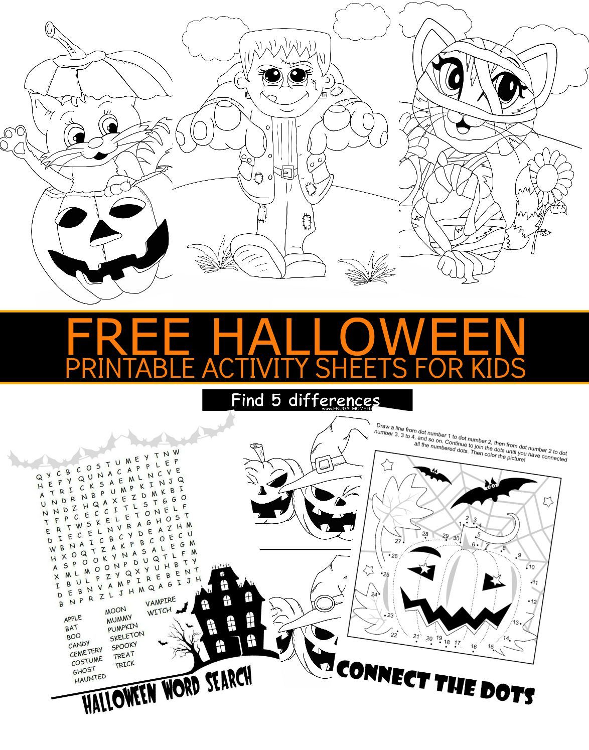 Free Halloween Printable Activity Sheets For Kids   Holidays - Free Printable Halloween Games For Kids