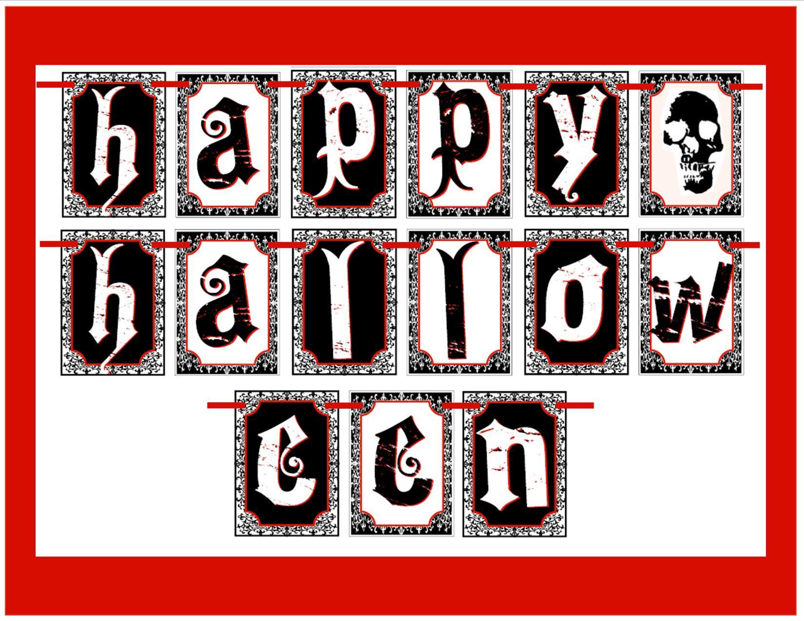 Free Happy Halloween Printables Gothic Halloween Banner   Halloween Arts - Free Printable Halloween Banner
