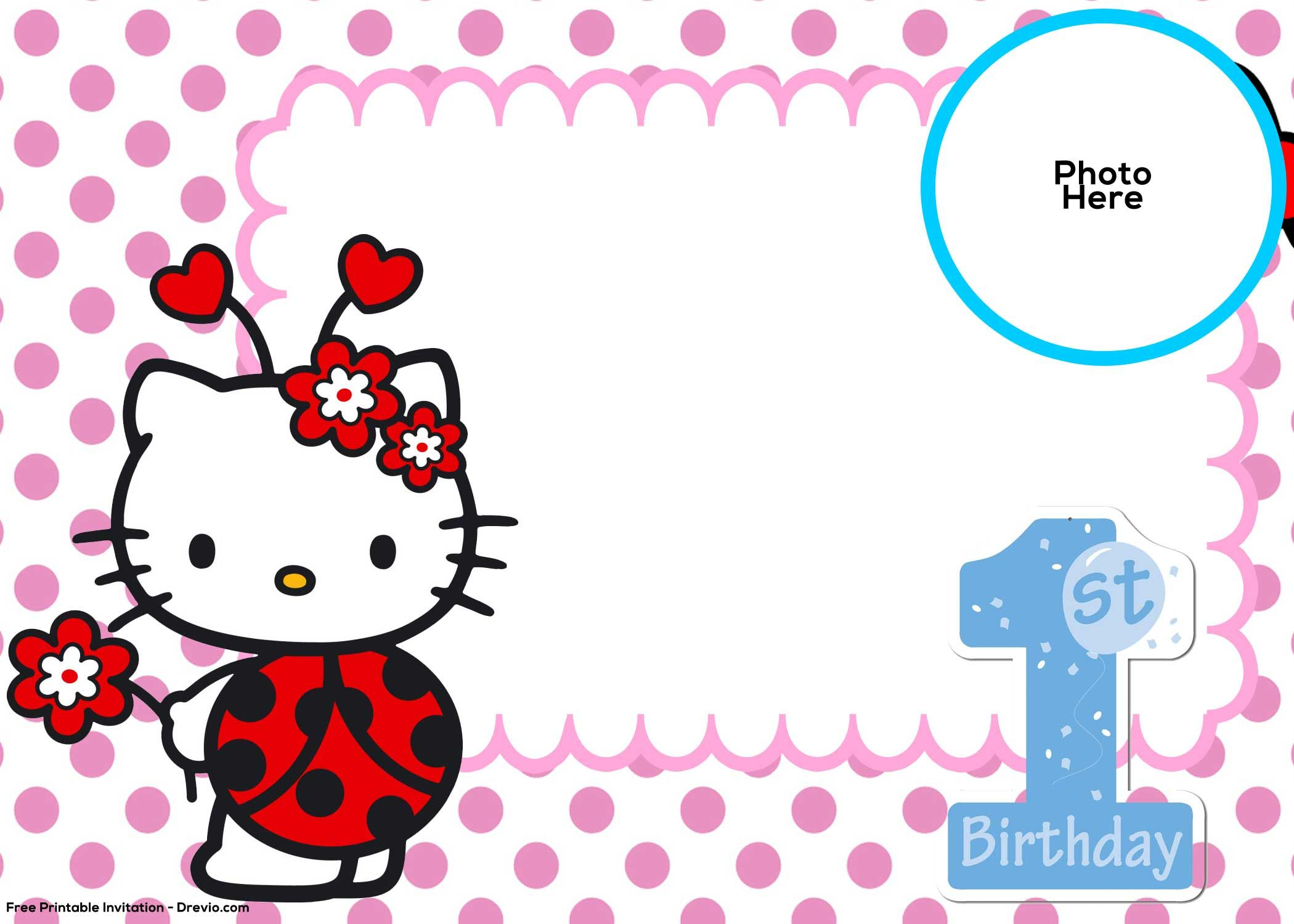 Free Hello Kitty 1St Birthday Invitation   Free Printable - Hello Kitty Birthday Card Printable Free