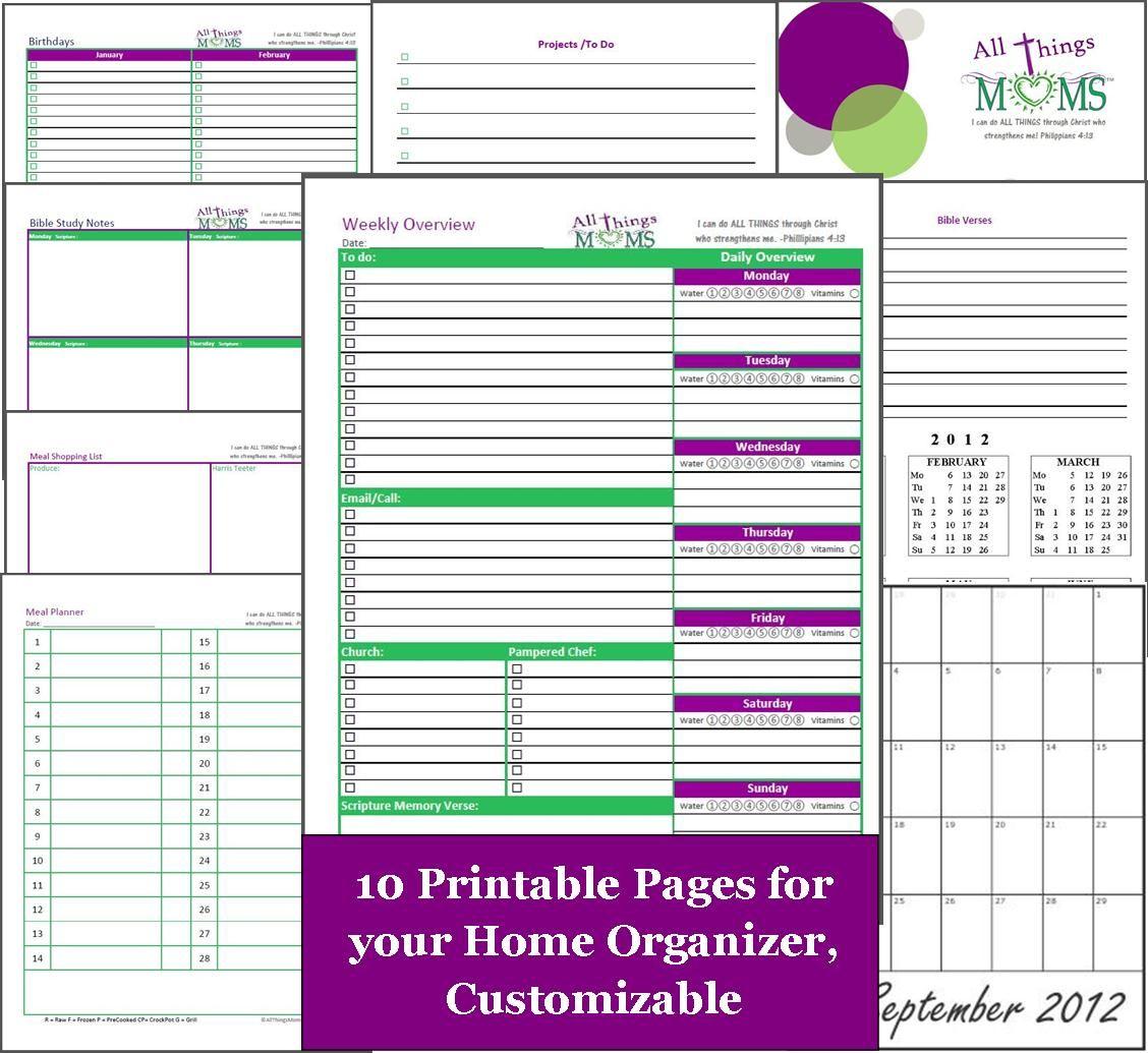 Free Home Organizer Printables! Including Weekly Overview, Bible - Free Printable Home Organizer Notebook