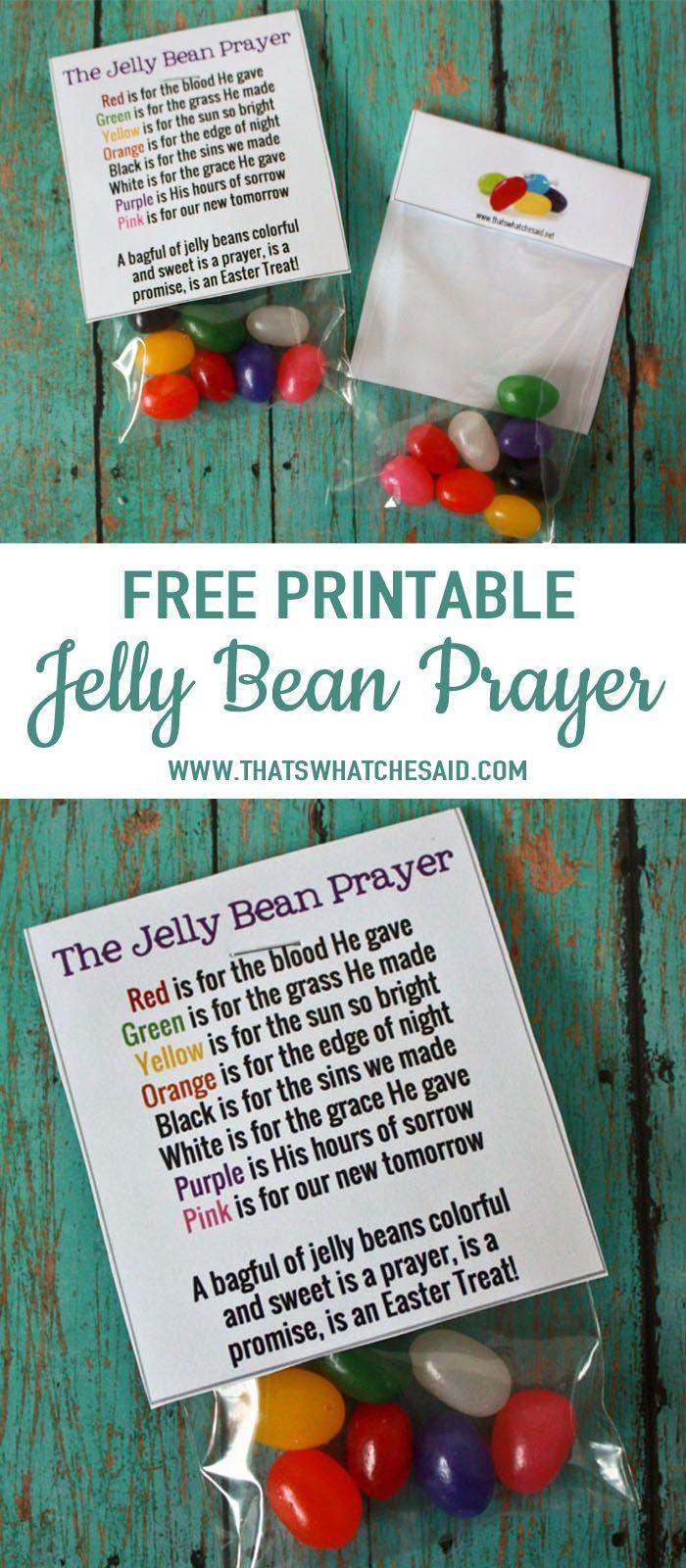 Free Jelly Bean Prayer Printable Treat Topper | As Seen On - Free Printable Easter Sermons