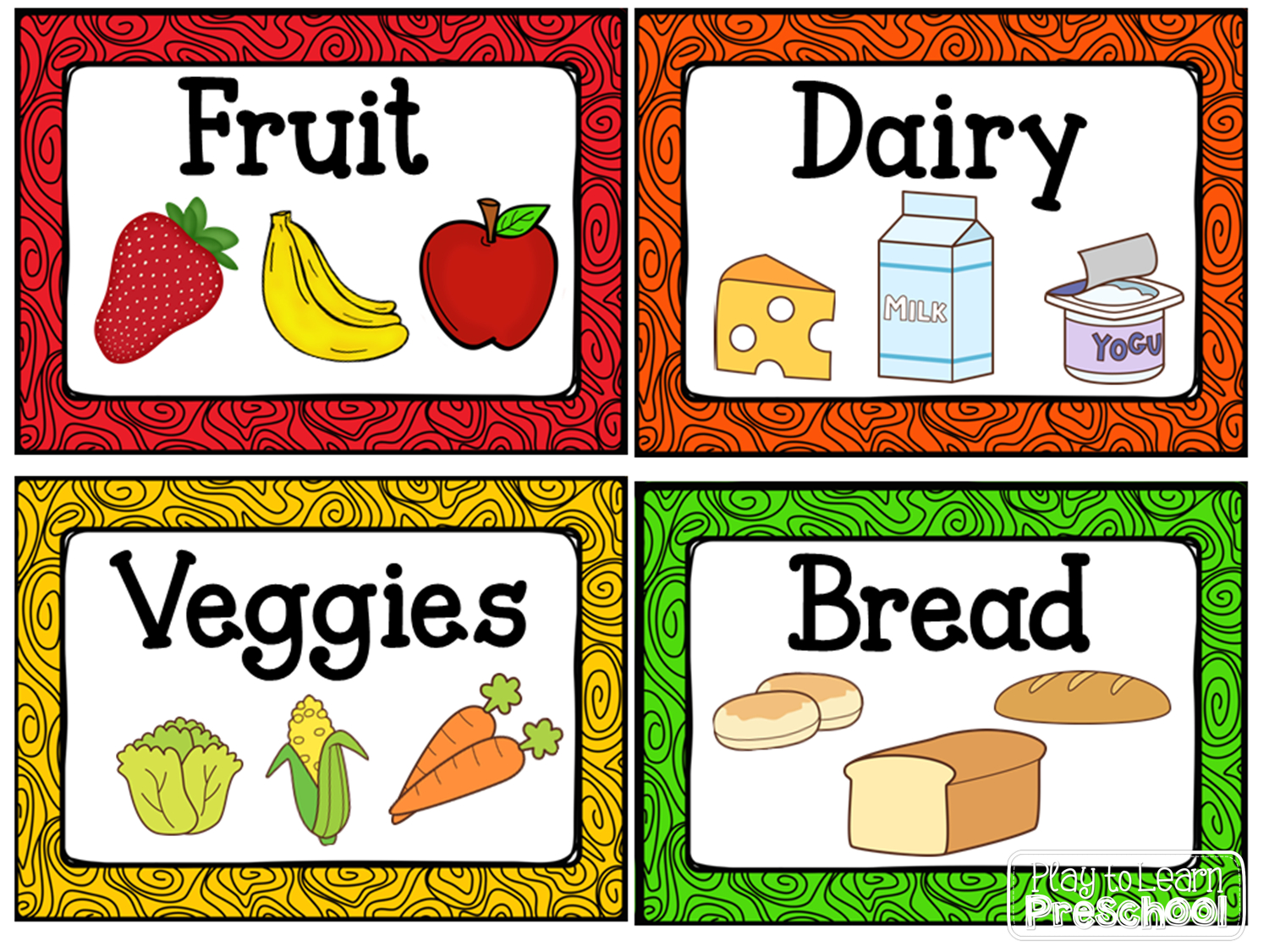 Free Labels For The Housekeeping Center/ Dramatic Play Kitchen From - Free Printable Play Food Labels
