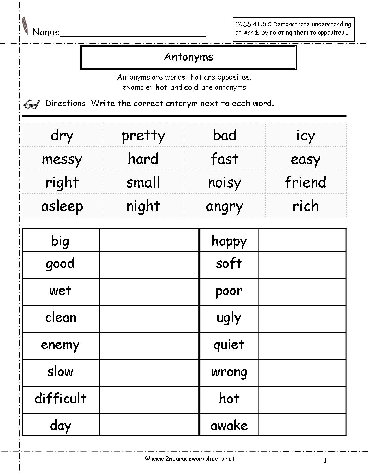 Free Language/grammar Worksheets And Printouts - Free Printable Activity Sheets For 2Nd Grade