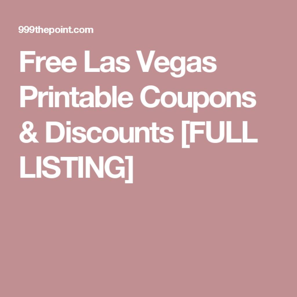 Free Las Vegas Printable Coupons & Discounts [Full Listing] | Las - Free Printable Las Vegas Coupons 2014