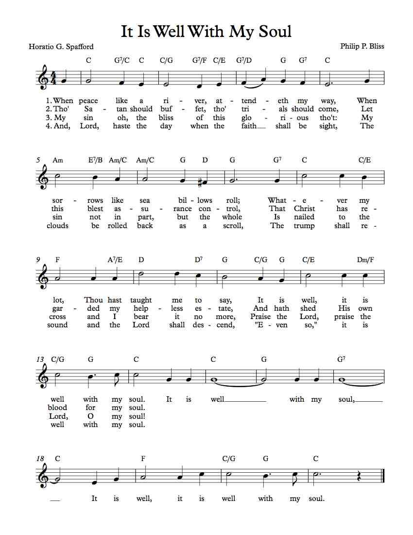Free Lead Sheet – It Is Well With My Soul - Free Printable Gospel Sheet Music For Piano