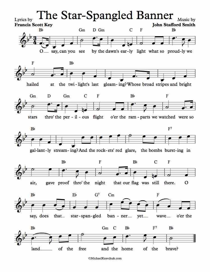 Free Lead Sheet – The Star-Spangled Banner | Via Kids Song | Music - Free Printable Piano Sheet Music For The Star Spangled Banner