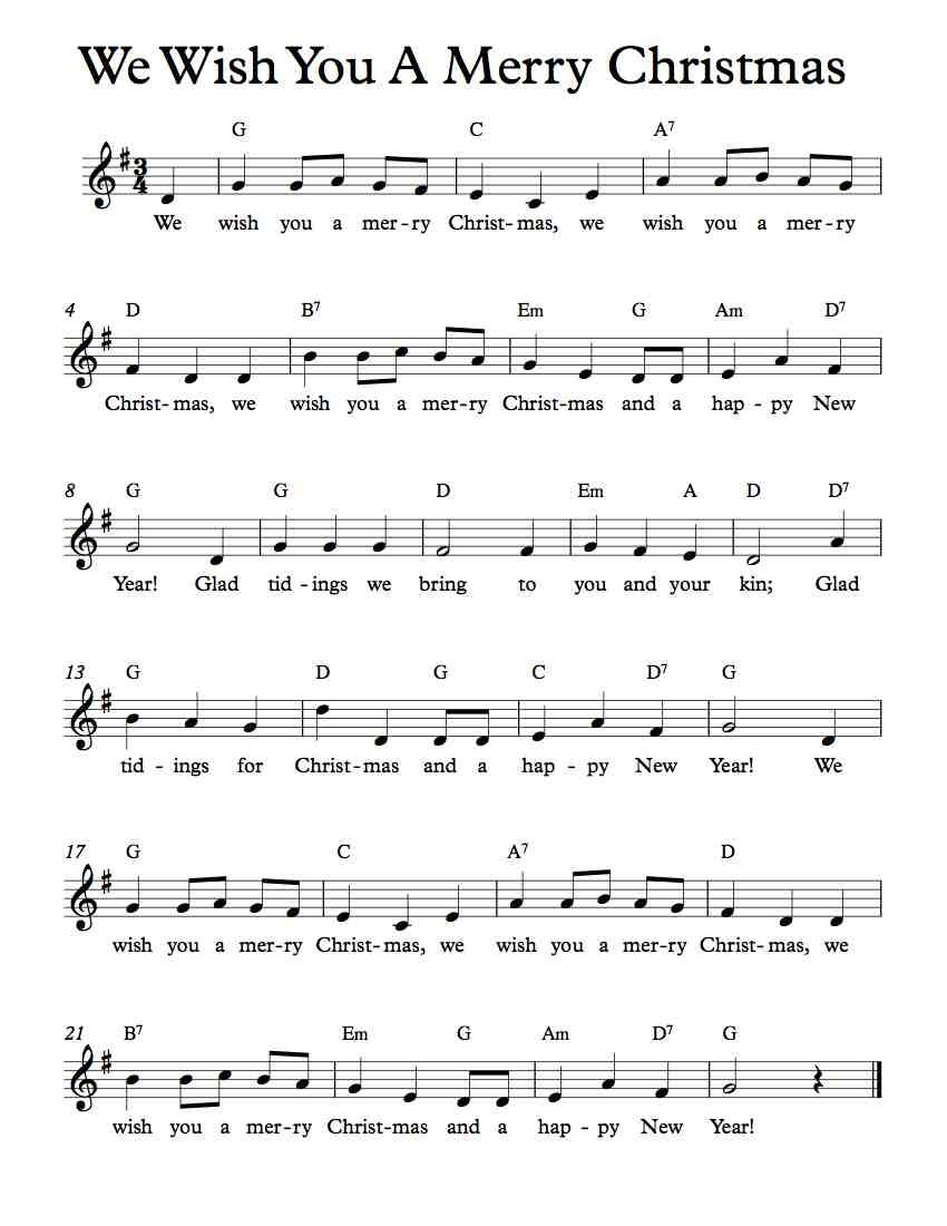 Free Lead Sheet – We Wish You A Merry Christmas | Free Sheet Music - Free Christmas Sheet Music For Keyboard Printable