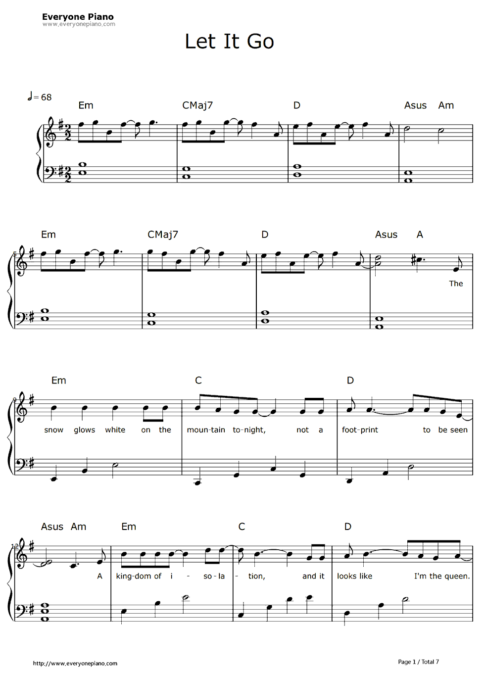 Free Let It Go Easy Version-Frozen Theme Sheet Music Preview 1 - Let It Go Violin Sheet Music Free Printable