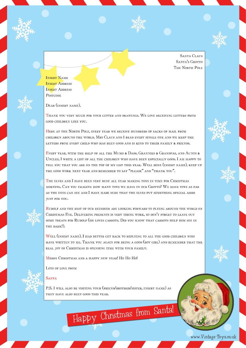 """Free """"Letter From Santa"""" Template For You To Download And Edit - Free Personalized Printable Letters From Santa Claus"""