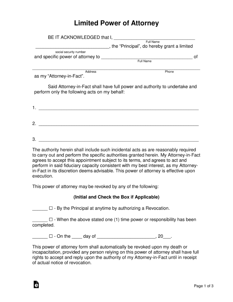 Free Limited (Special) Power Of Attorney Forms - Pdf | Word | Eforms - Free Printable Power Of Attorney Form California