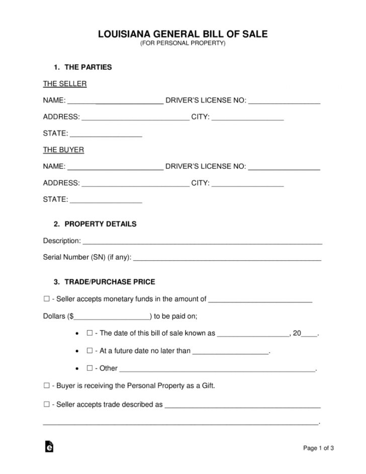 Free Printable Bill Of Sale Form