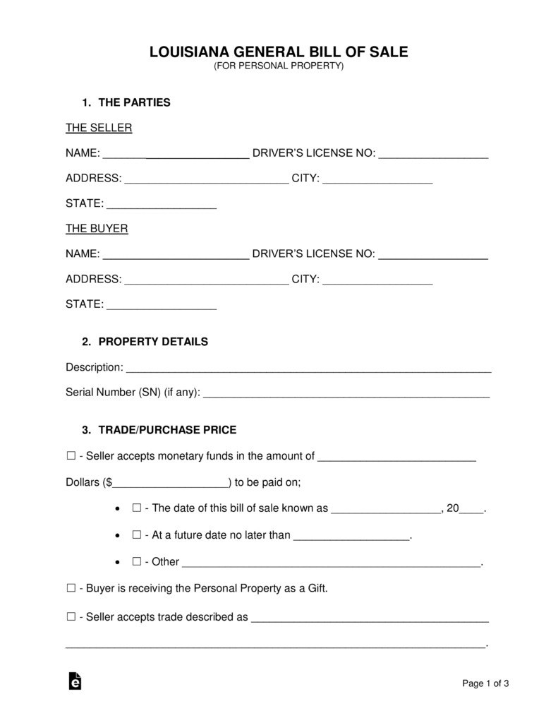 Free Louisiana General Bill Of Sale Form - Word | Pdf | Eforms - Free Printable Bill Of Sale Form