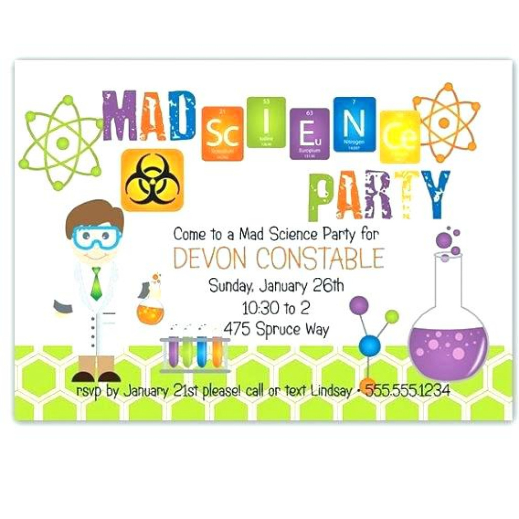 Free Mad Scientist Birthday Party Invitations Personalised Science - Free Printable Science Birthday Party Invitations