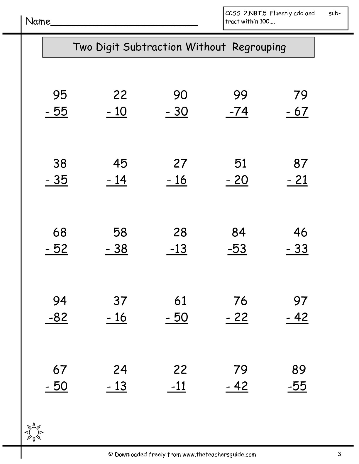Free Math Printouts From The Teacher's Guide - Free Printable Math Sheets