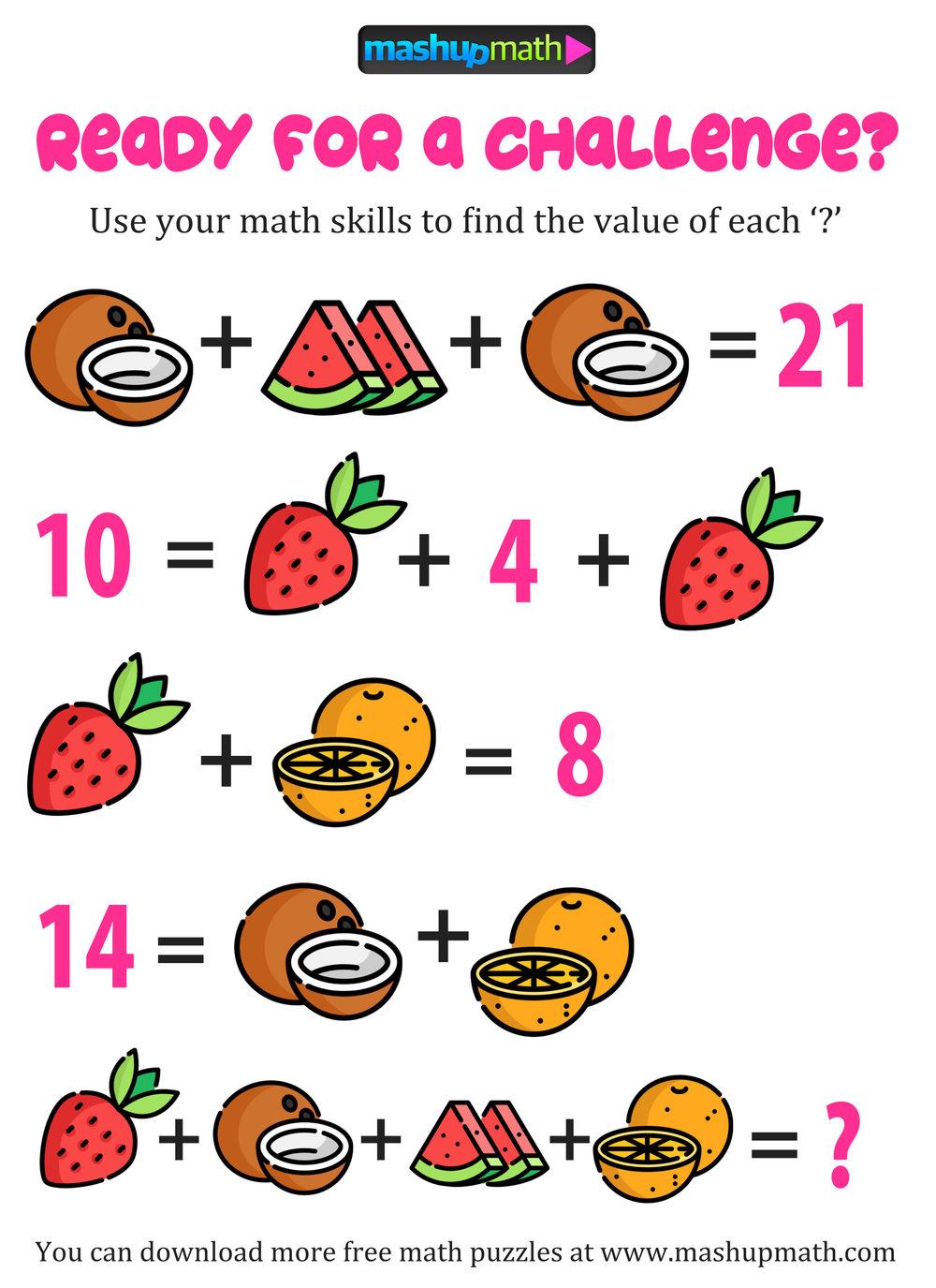 Free Math Puzzles — Mashup Math - Free Printable Math Puzzles