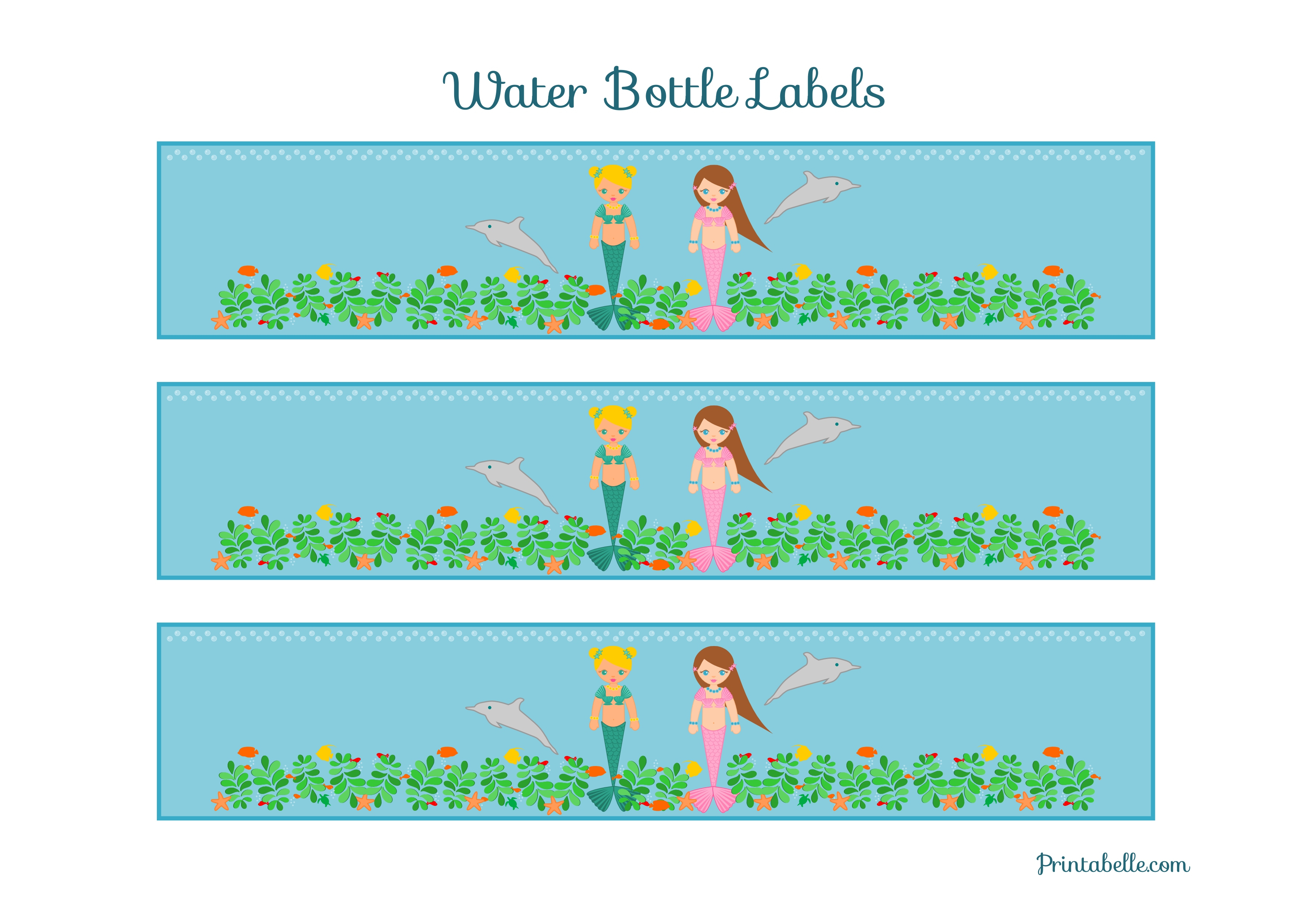 Free Mermaid Birthday Party Printables From Printabelle | Catch My Party - Free Printable Little Mermaid Water Bottle Labels