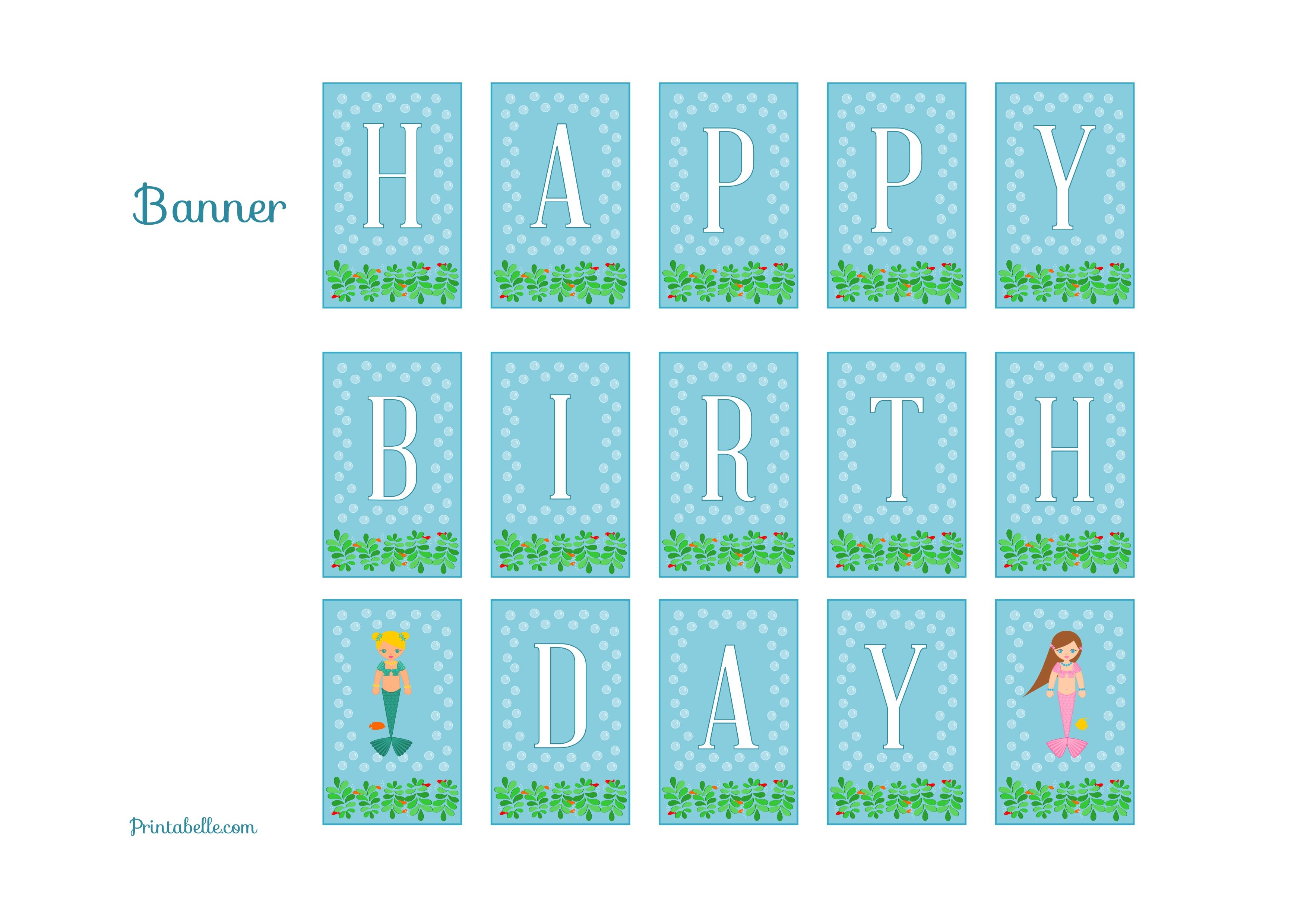 Free Mermaid Birthday Party Printables From Printabelle | Mermaid - Free Printable Little Mermaid Birthday Banner
