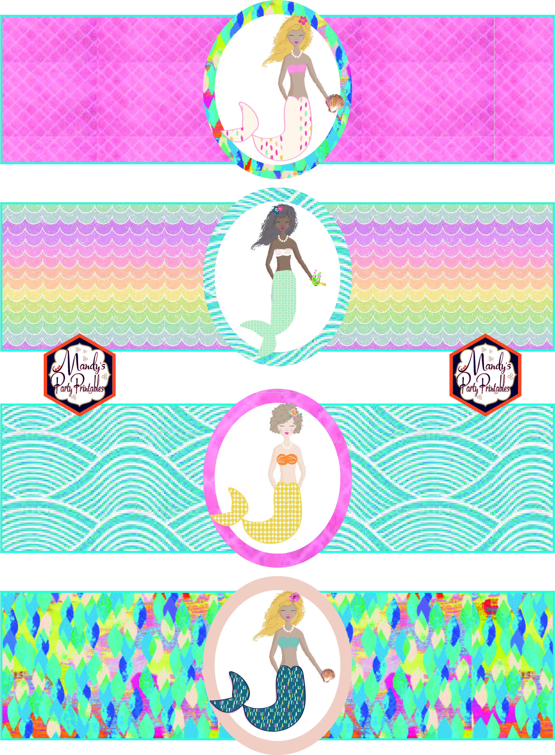 Free Mermaid Birthday Party Printables | Party Printables - Free Printable Little Mermaid Water Bottle Labels