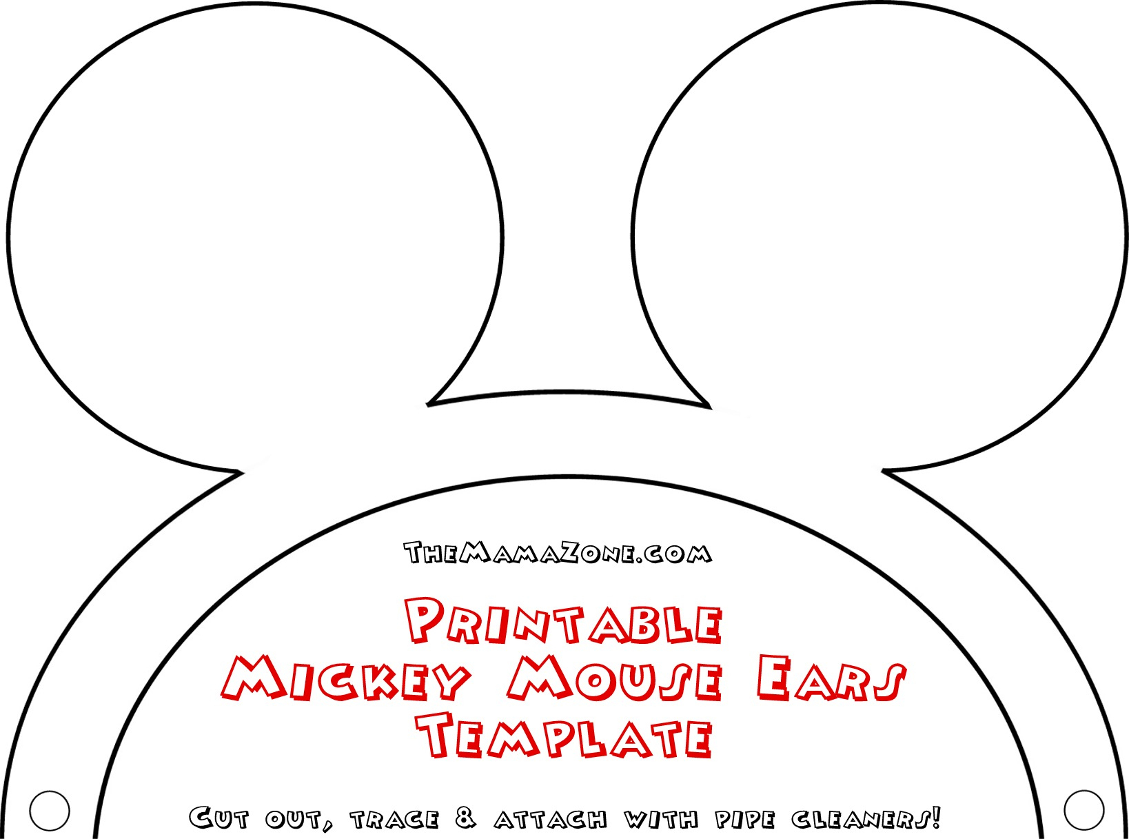 Free Mickey Mouse Ears Template   The Mama Zone - Free Printable Mickey Mouse Template