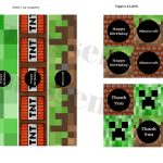 Free Minecraft Banner & Toppers   Baby Shower Ideas   Themes   Games   Free Printable Minecraft Cupcake Toppers And Wrappers
