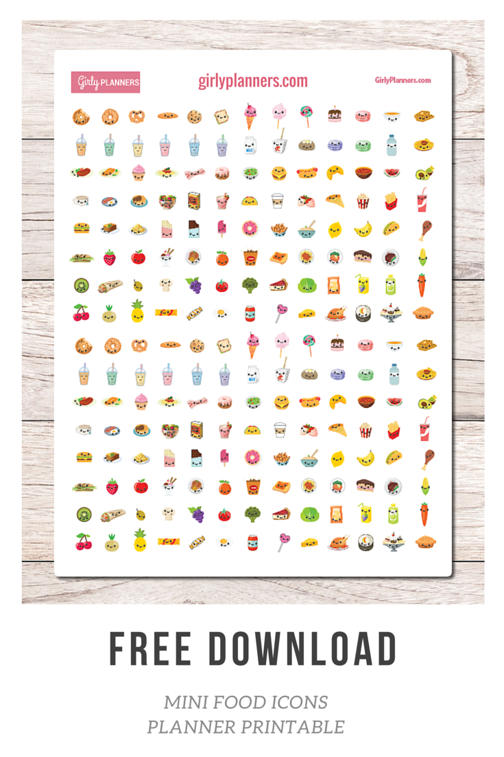 Free Mini Food Icons | Bullet Journal Resources | Printable Planner - Free Printable Icons