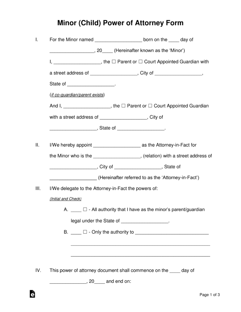 Free Minor (Child) Power Of Attorney Forms - Pdf | Word | Eforms - Free Printable Legal Guardianship Forms