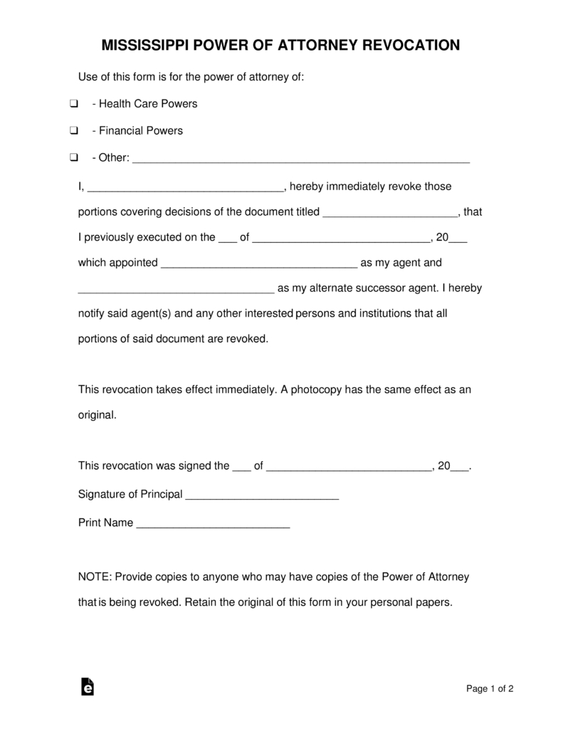 Free Mississippi Revocation Power Of Attorney Form - Pdf | Word - Free Printable Revocation Of Power Of Attorney Form