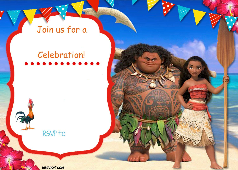Free Moana Birthday Invitation | Zoey 4Th Birthday | Pinterest - Free Printable Moana Birthday Cards
