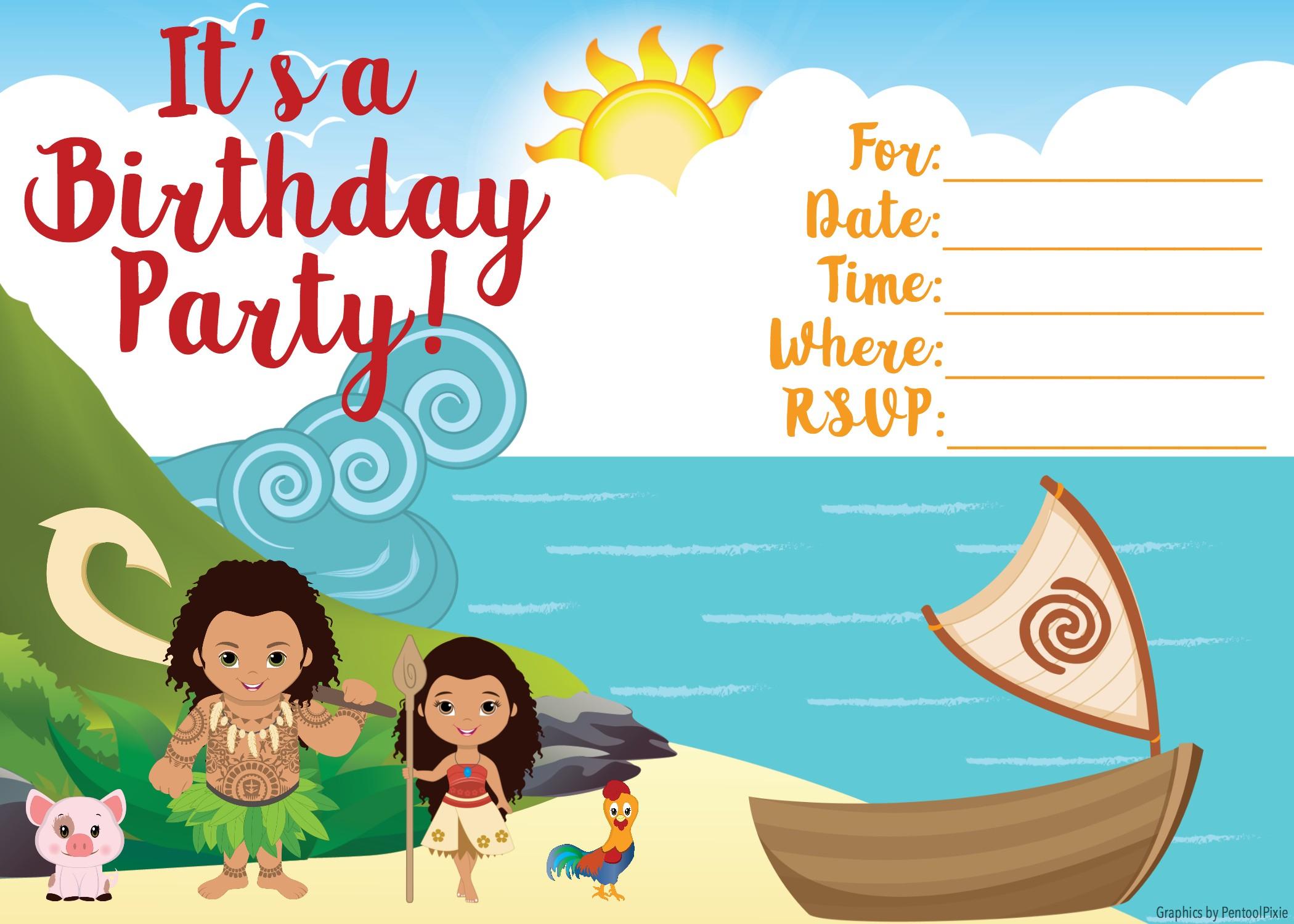 Free Moana Invitations - Joomlaexploit - Free Printable Moana Invitations