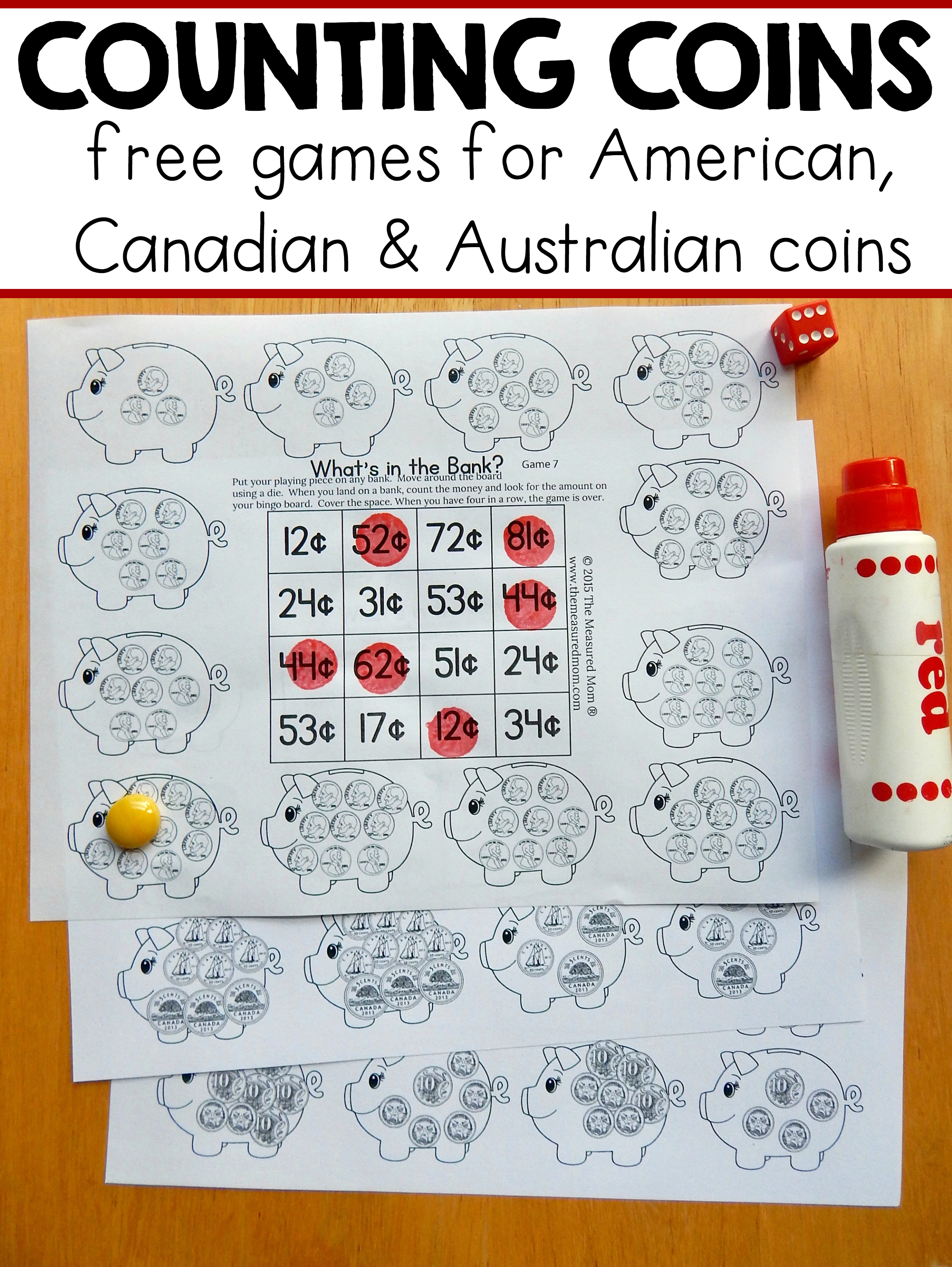 Free Money Games For K-2 - With American, Canadian, And Australian - Free Printable Money Activities