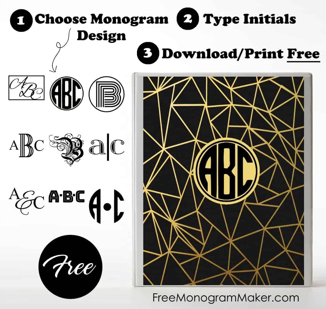 Free Monogram Binder Cover   Customize Online   Instant Download - Free Printable Monogram Binder Covers