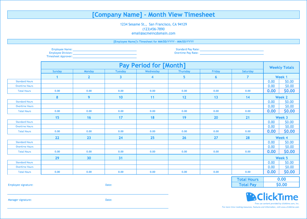 Free Monthly Timesheet Template | Clicktime - Monthly Timesheet Template Free Printable