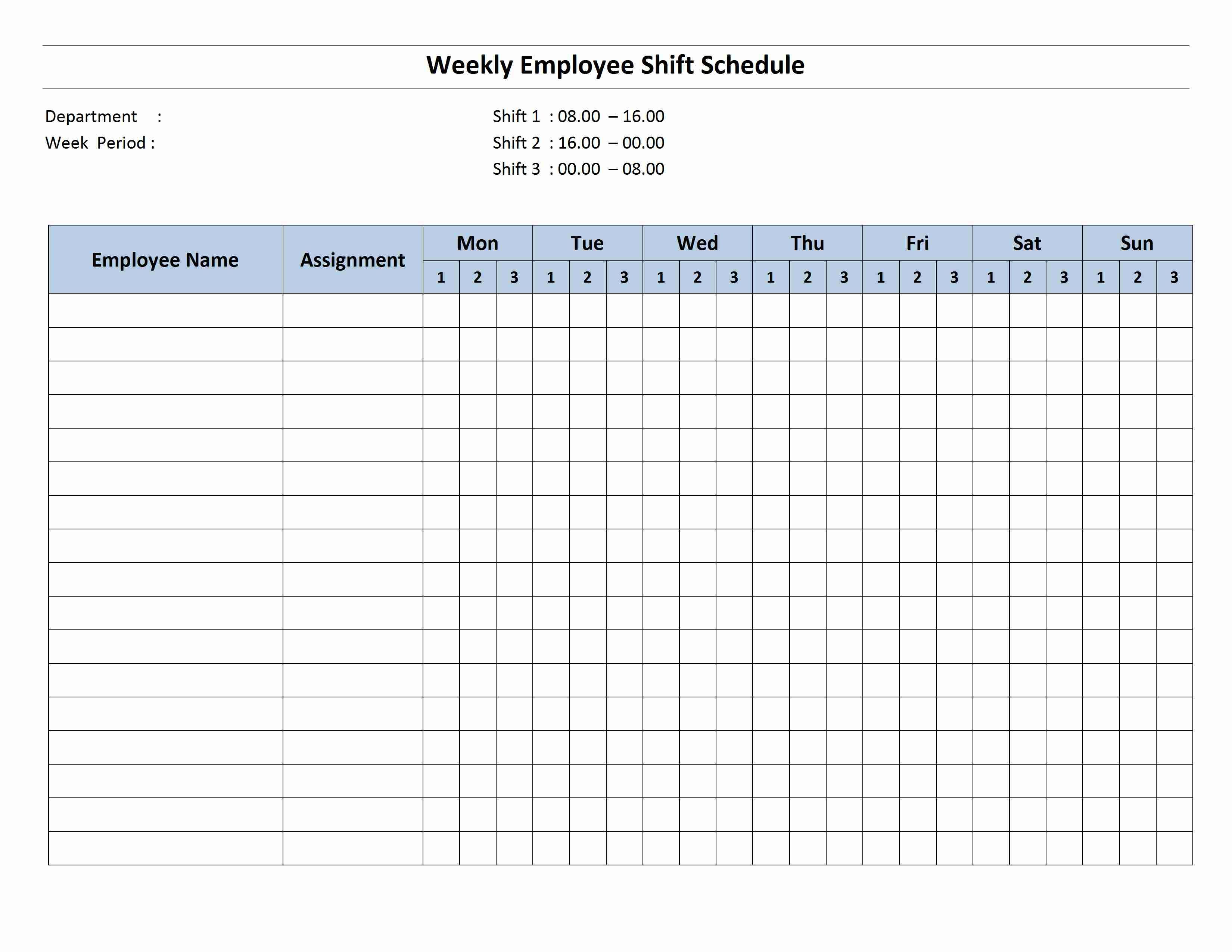 Free Monthly Work Schedule Template | Weekly Employee 8 Hour Shift - Free Printable Work Schedule Maker