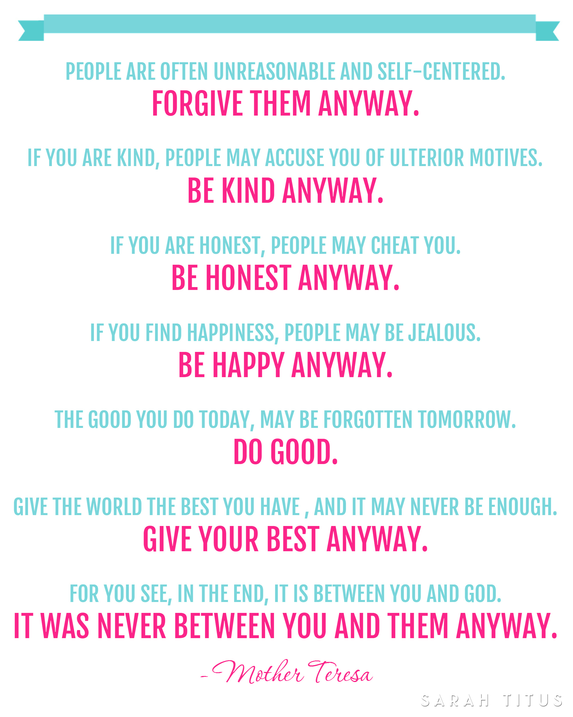Free Mother Teresa Quote Printable - Sarah Titus - Free Wash Your Hands Signs Printable