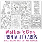Free Mother's Day Card | Printable Template   Sarah Renae Clark   Free Printable Cards To Color